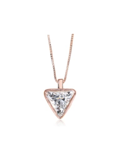 White triangle Compact Swarovski element crystal necklace