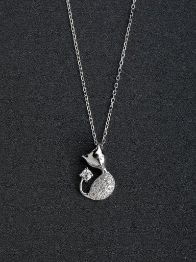 Micro inlay Cat 925 Silver Necklaces