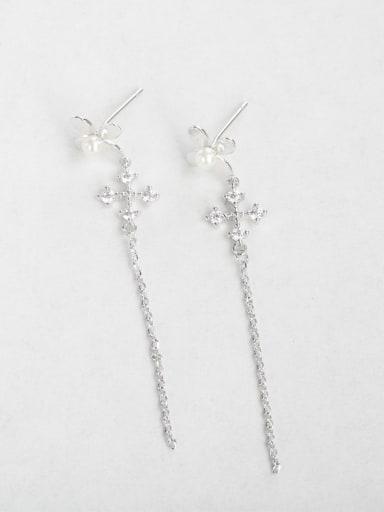 Zircon cross Copper inlaid platinum Drop Earrings