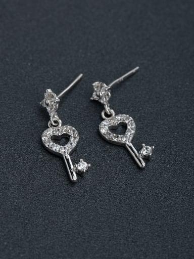 Inlaid Rhinestone Lock key 925 silver Stud earrings