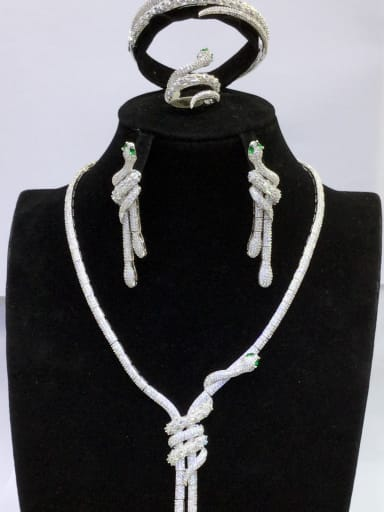 Copper With White Gold Plated Fashion Animal 4 Piece Jewelry Set