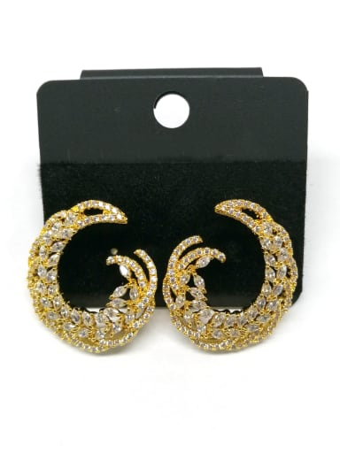 Copper With Gold Plated Fashion Hook Stud Earrings
