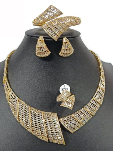 Copper With Gold Plated Exaggerated Geometric Jewelry Sets