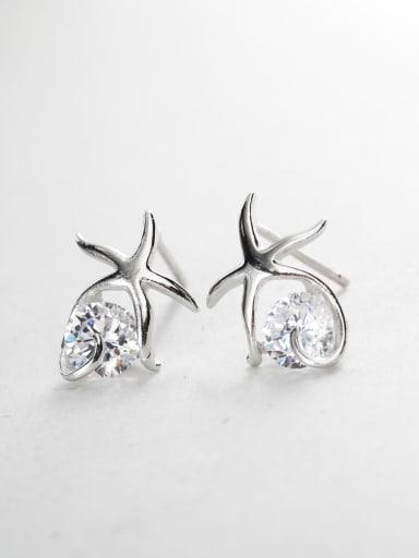 Shiny zircon Fishstar Stud Earrings