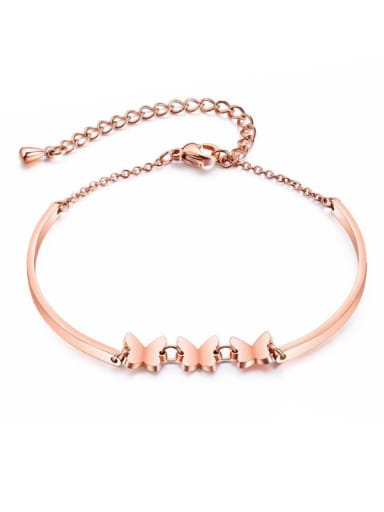 Stainless Steel With Rose Gold Plated Lady Butterfly Bracelets