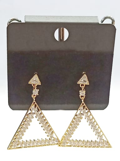 Copper With Gold Plated Fashion Triangle Earrings
