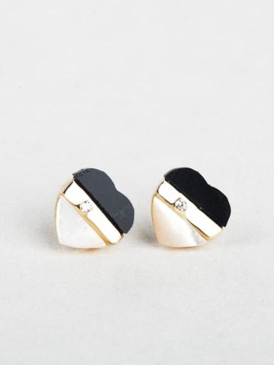 Shell heart zircon cuff earrings