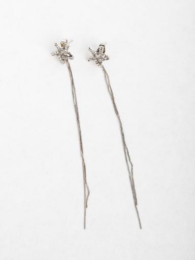 Simple Star Zircon Copper inlaid platinum Drop Earrings