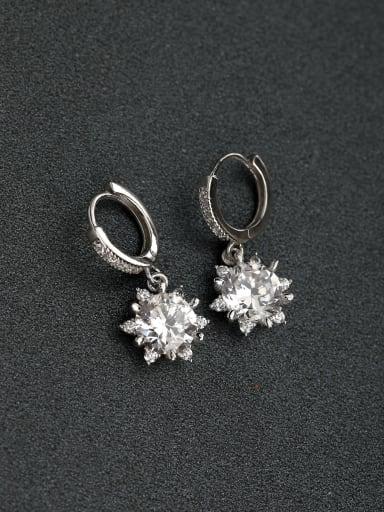 Micro inlay Rhinestone Droplet semi-precious stones Simple  D word buckle 925 silver Stud earrings