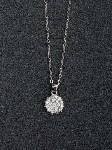 Micro inlay Zircon Compact Round  925 Silver Necklaces