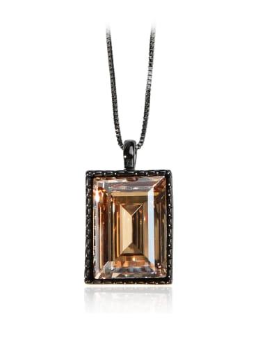 Brown big square crystal Swarovski element crystal necklace