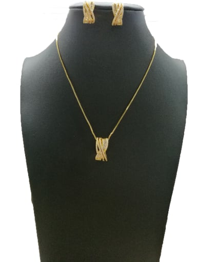 Copper With Gold Plated Fashion Geometric 2 Piece Jewelry Set