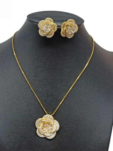 Copper With White Gold Plated Fashion Flower Jewelry Sets