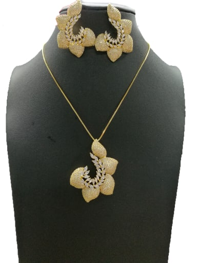 Copper With Gold Plated Fashion Flower 2 Piece Jewelry Set