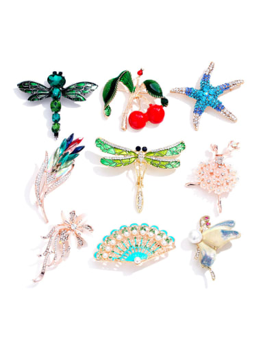 Alloy With Gold Plated Trendy Insect/flower Brooches