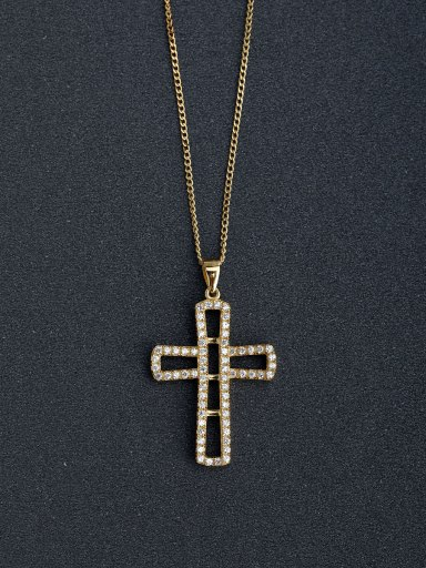 Micro inlay Zircon Hollow Cross Silver Necklaces