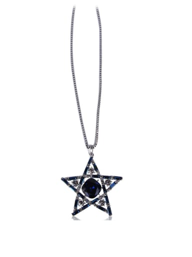 Empty five-pointed star Bling bling long necklace