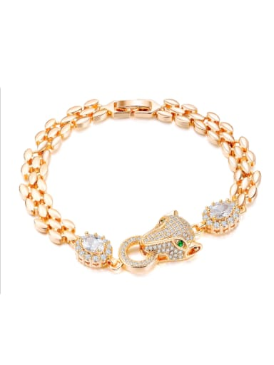 Copper With 18k Gold Plated Personality Animal leopard Bracelets
