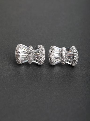 Bling bling Zircon square 925 silver Stud earrings