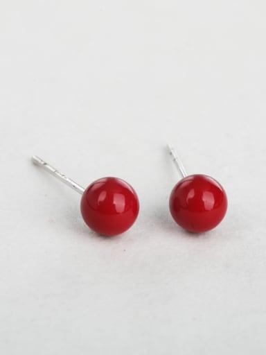 Red bead cuff earrings