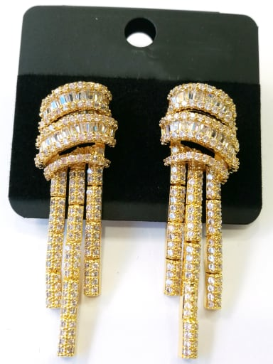 Copper With Gold Plated Trendy Fringe Earrings