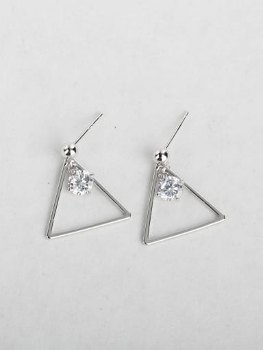 Simple triangle Zircon Copper inlaid platinum Drop Earrings