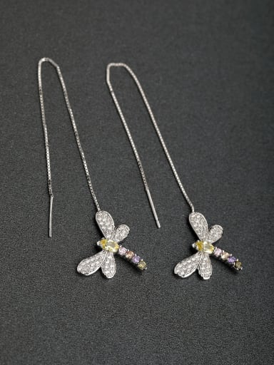 Micro inlay Zircon dragonfly 925 silver Threader Earrings