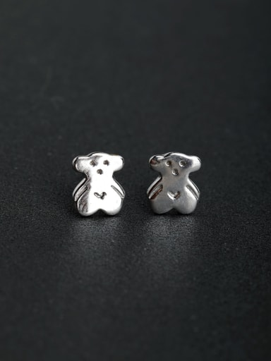 Simple fashion bear 925 silver Stud earrings