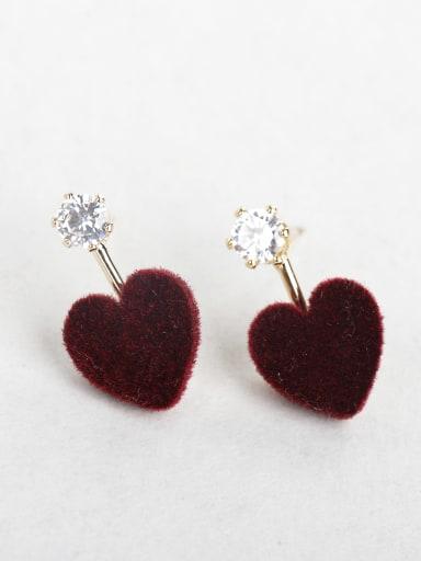 Rhinestone red Plush love Stud Earrings