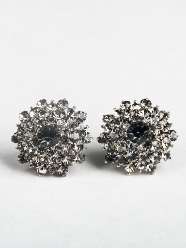 Black zircon Round Cluster Earrings