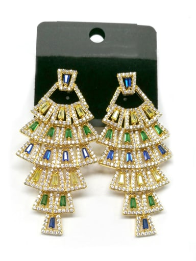 Copper With Gold Plated Trendy Statement Earrings