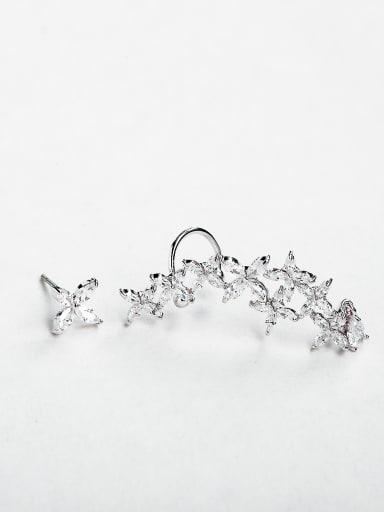 Zircon cross pentagram earrings
