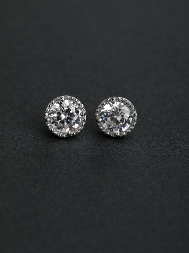 Bling bling Zircon round 925 silver Stud earrings