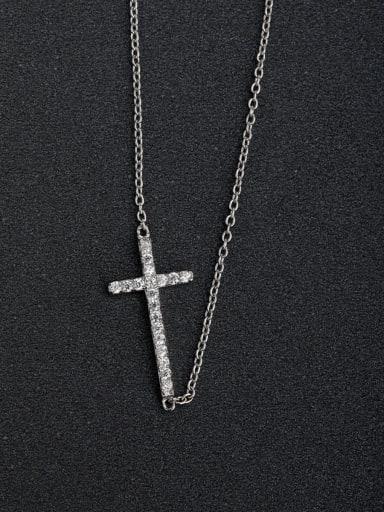 Micro inlay Zircon cross 925 Silver Multi Strand Necklaces Clavicular chain