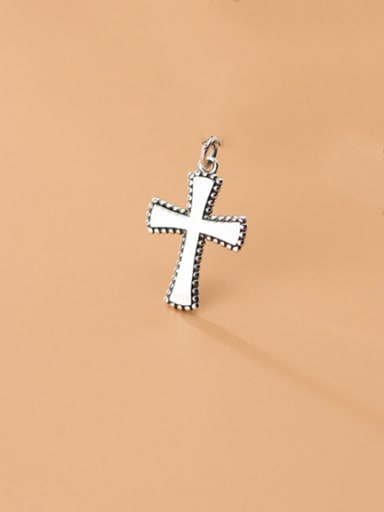 925 Sterling Silver With Platinum Plated Simplistic Cross Pendants