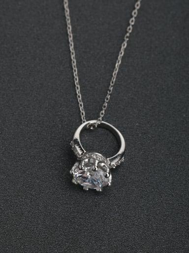 Inlaid zircon Ring Pendant  925 silver necklaces