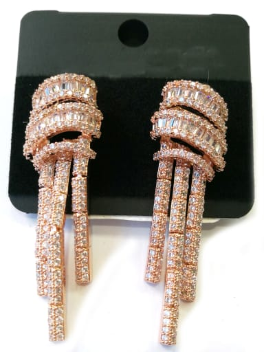 Copper With Rose Gold Plated Trendy Fringe Earrings