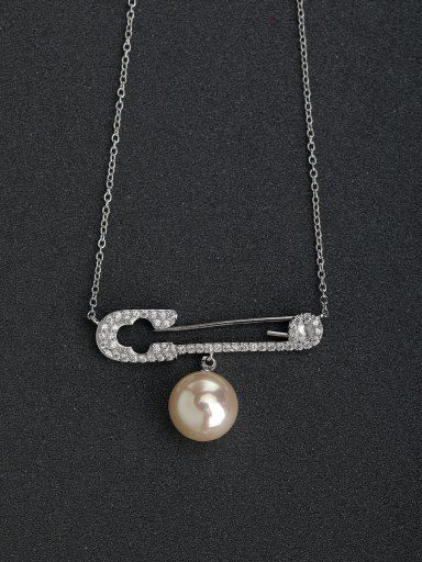 Rhinestone insert Pin Imitation Pearl 925 Silver Necklace