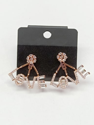 Copper With Rose Gold Plated Fashion Letter Earrings