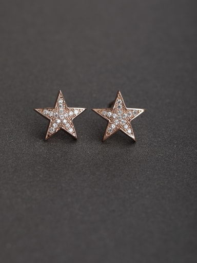 Micro inlay Zircon star rose gold 925 silver Stud earrings