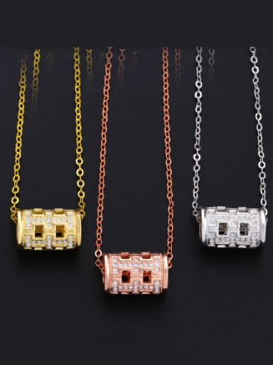 Copper With Cubic Zirconia Fashion Geometric Necklaces