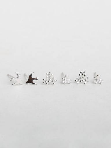 bird fishstar snowflake Shiny zircon Stud Earrings