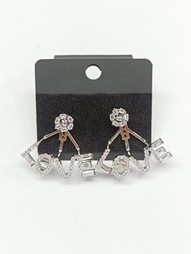 Copper With White Gold Plated Fashion Letter Earrings