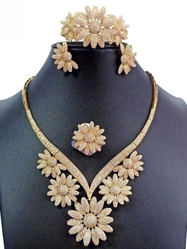 Copper With Gold Plated Luxury Flower Jewelry Sets