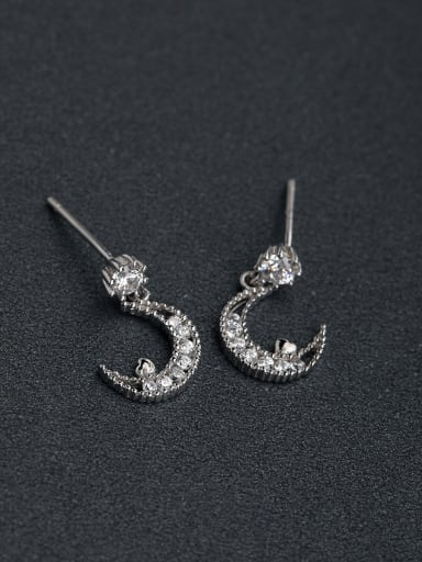 small and exquisite  Moon 925 silver Drop Earrings