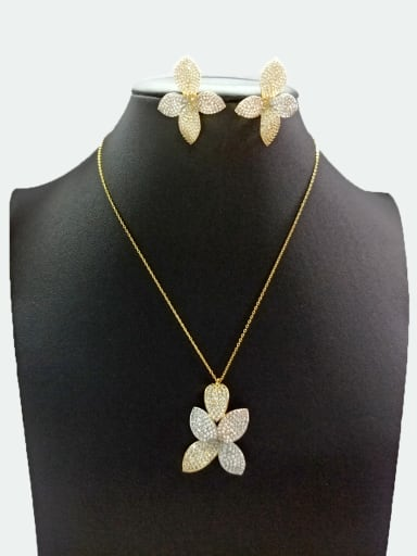 Copper With Mix Plated Fashion Leaf 2 Piece Jewelry Set