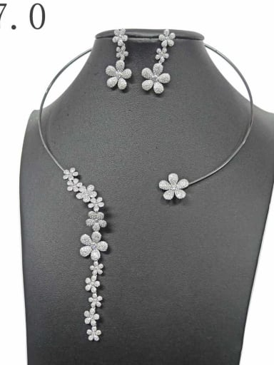 Copper With White Gold Plated Delicate Flower 2 Piece Jewelry Set