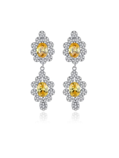 925 Sterling Silver With Platinum Plated Luxury Flower Drop Earrings