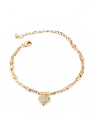 Copper With Gold Plated Trendy Heart Bracelets