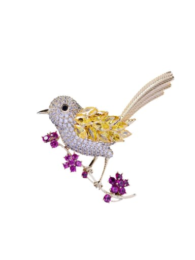 Copper With Cubic Zirconia Cute Bird Brooches